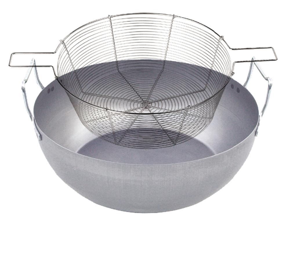 Bassine friture 36 cm en acier avec panier en fil tam for Grande bassine plastique bain
