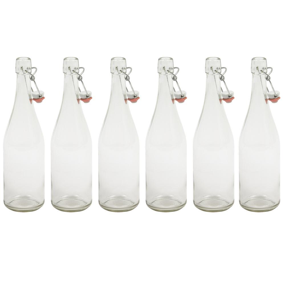 Bouteille de limonade transparente 75 cl avec bouchon m canique par 6 tom p - Bouteille en verre vide ...