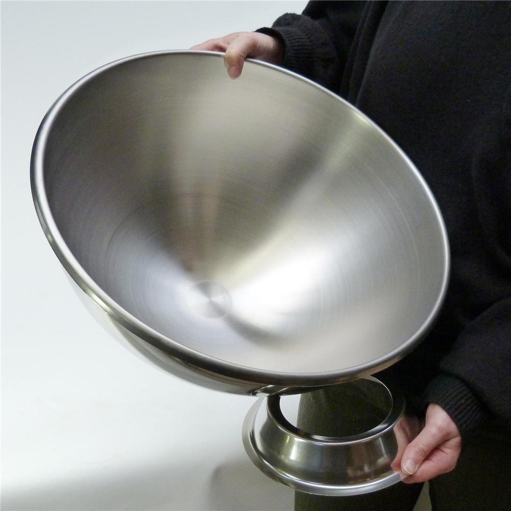 tr s grand bol p tissier ou cul de poule inox 40 cm avec support tom press. Black Bedroom Furniture Sets. Home Design Ideas