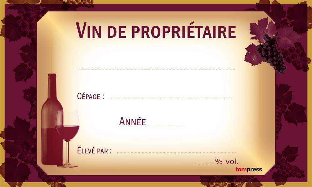 Très Etiquettes pour bouteilles de vin par 24 - Tom Press DK06