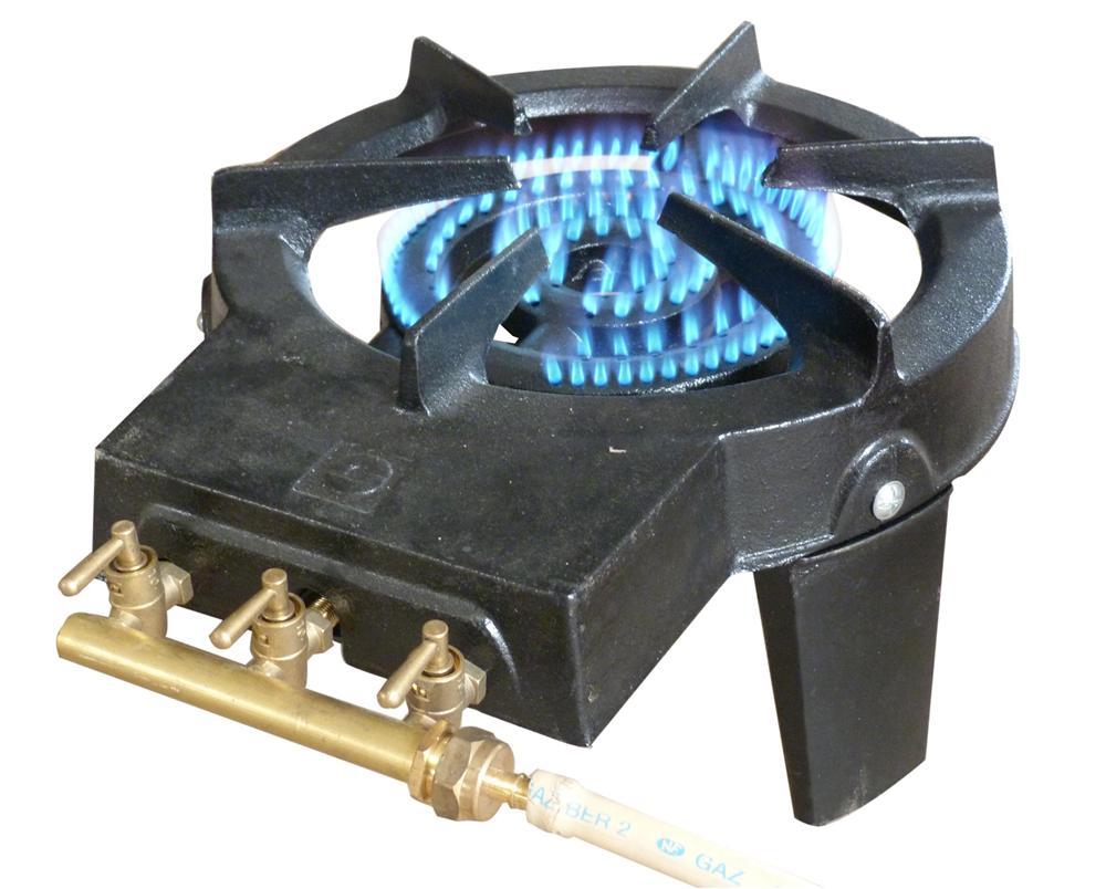 Rechaud gaz fonte 3 robinets laiton 9200w