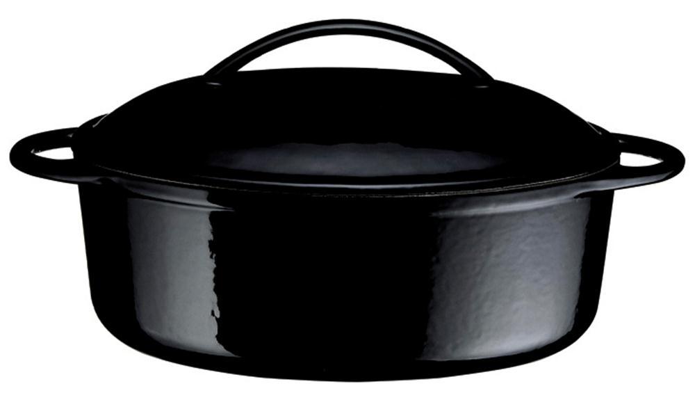 cocotte en fonte ovale noire 34 cm 4 l tom press. Black Bedroom Furniture Sets. Home Design Ideas