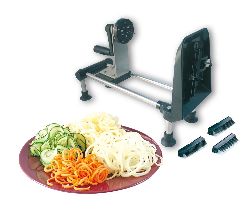 Rouet coupe l gumes spiralizer pro tom press - Decoupe legumes coupe legumes oignons et fruits ...