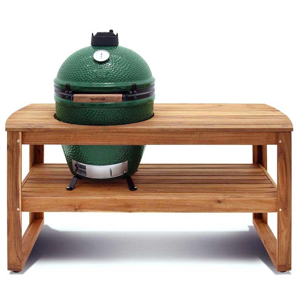 Table En Acacia Avec Support Et Housse Pour Big Green Egg